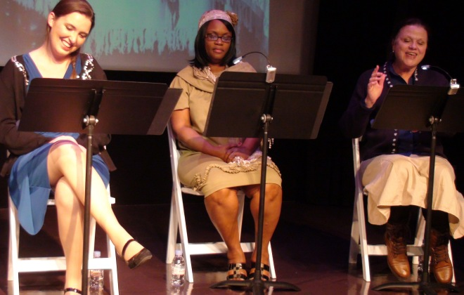 Actors portraying Grandma Harrison and Robin at the debut of Threads of Silver and Gold: Women of the Panama Canal.